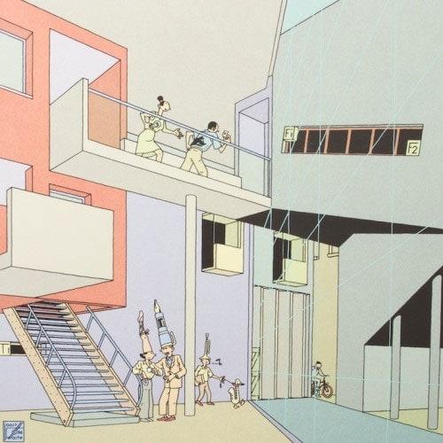 Tekening van Joost Swarte - inspiratie voor Studio Thier & van Daalen voor het ontwerp van de Angled Cabinet voor Vij5