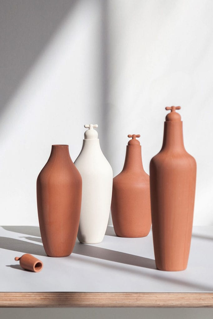 tap water carafe stoneware terracotta portrait
