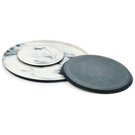 pigments porcelain plates stack black shop