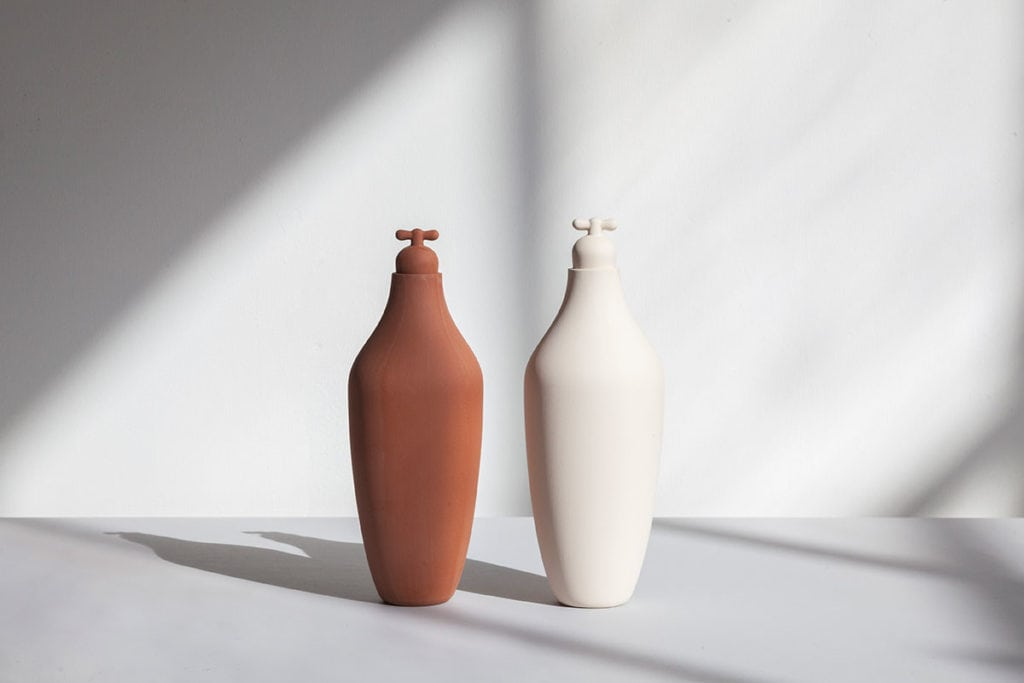 tap water carafe by lotte de raadt setting image by vij5 terracotta white