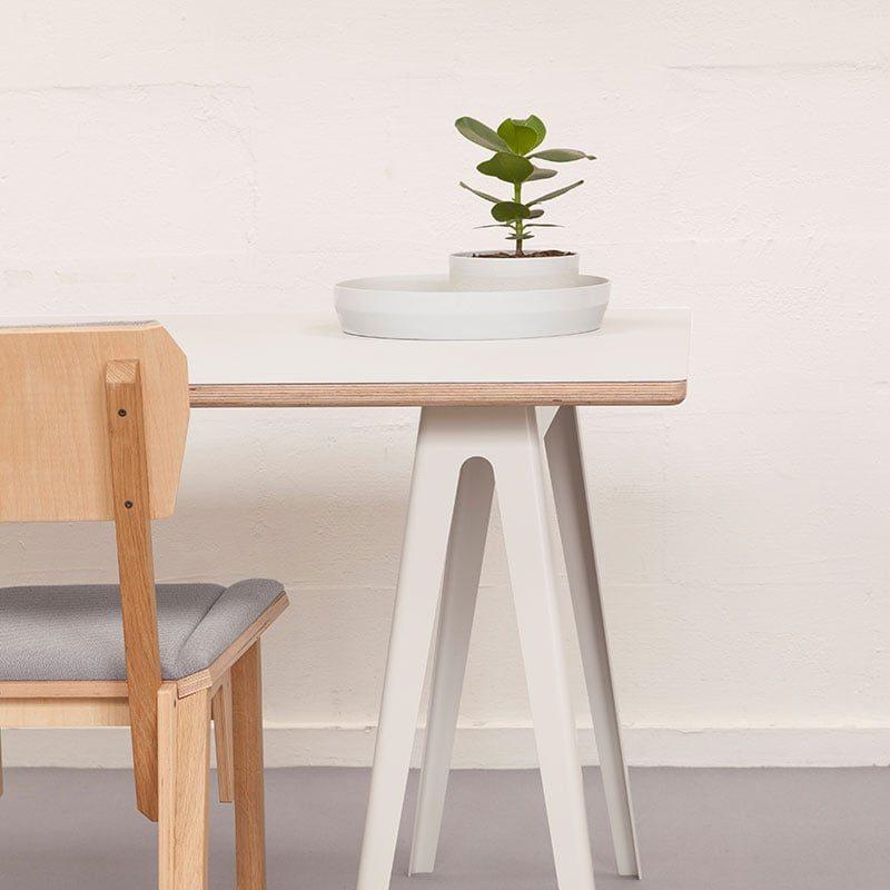 vij5 trestle table by david derksen hpl white
